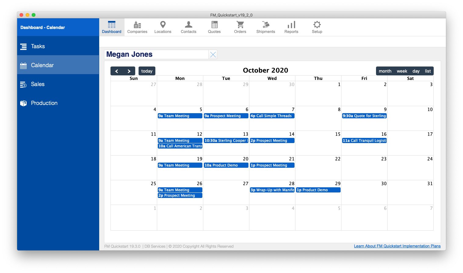 FM Quickstart Calendar screenshot