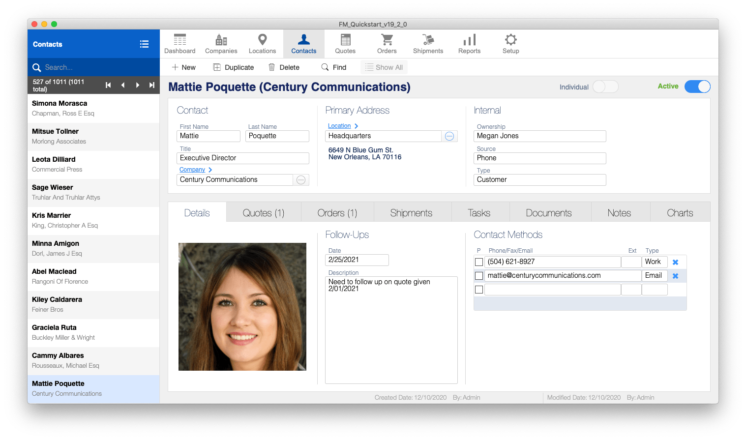 FM Quickstart Contacts screenshot