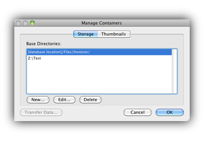 Managing Containers Storage pop up box - FileMaker 12