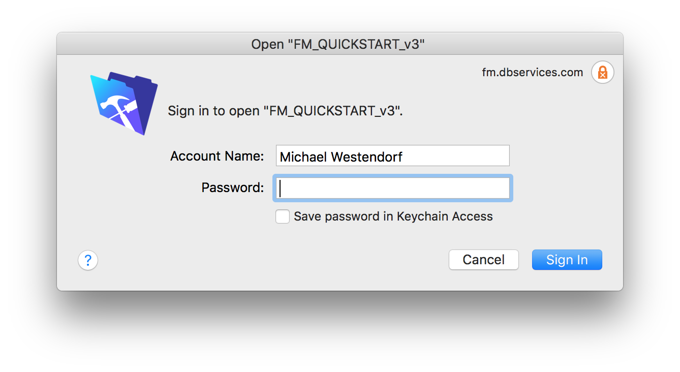 FileMaker Pro Security Credential