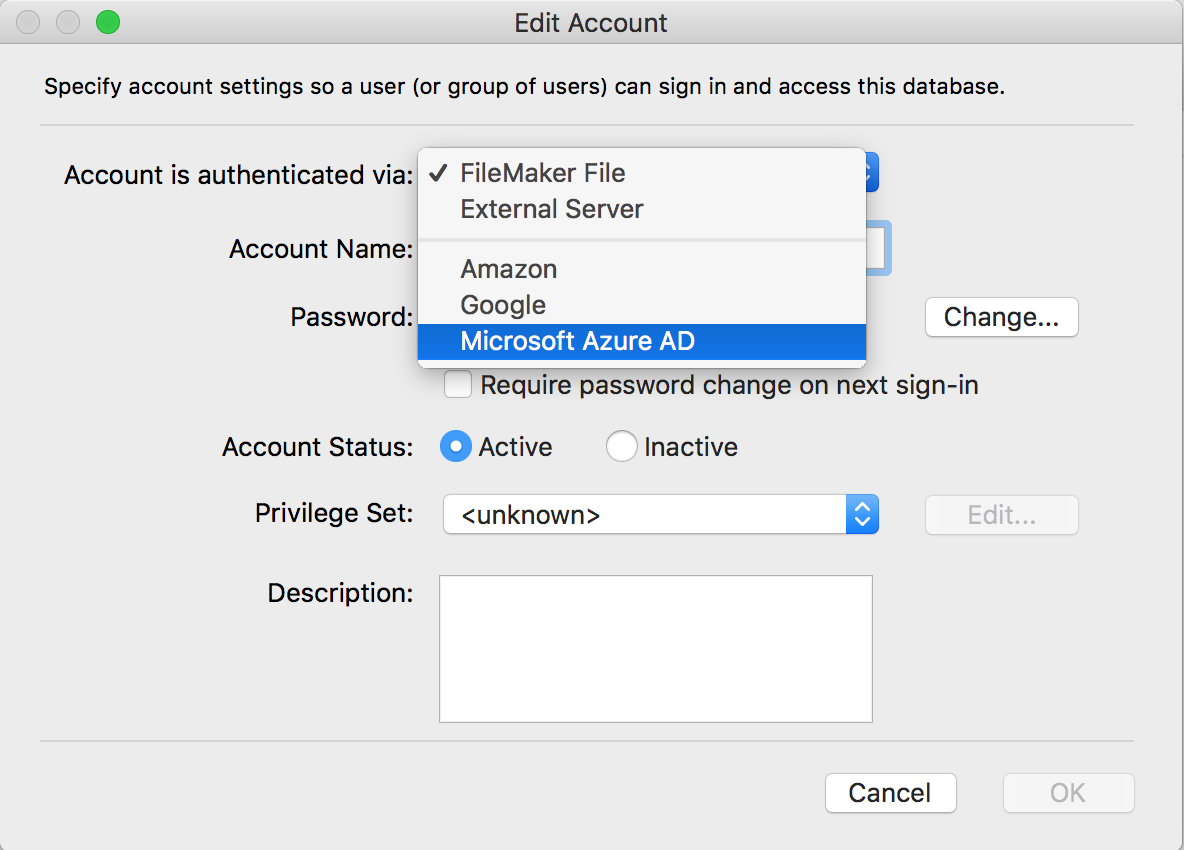 Filemaker OAuth Choices