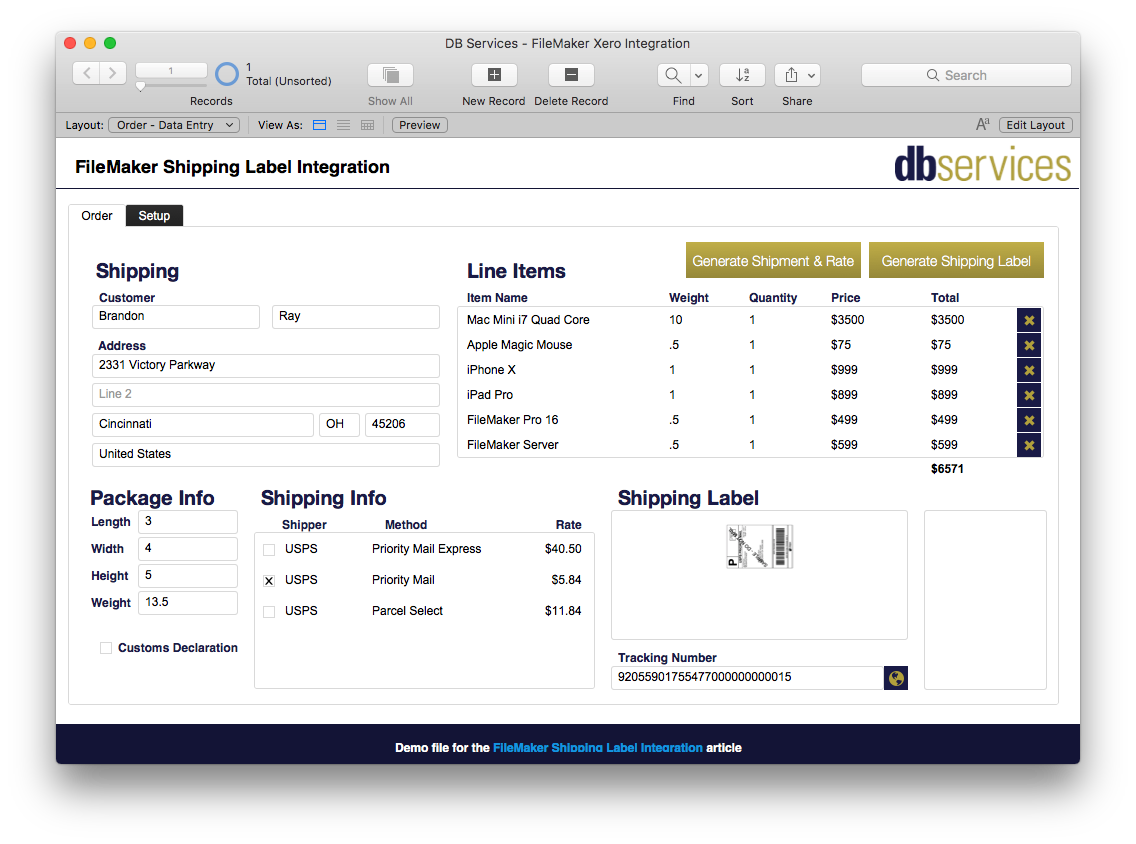 FileMaker Shippo Order Screen