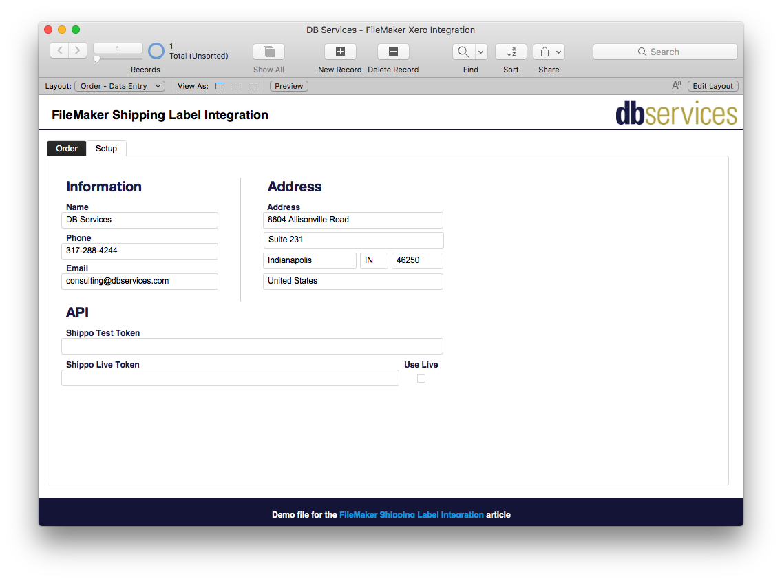 FileMaker Shippo Setup Screen